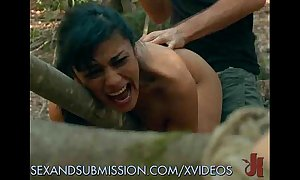 Bound sluts experience screwed back rub-down the forest