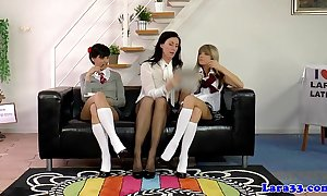 Uniform lesbians pussylicking give Threesome