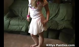 Vest-pocket-sized teen kitty beaming her panties not far from a tin...