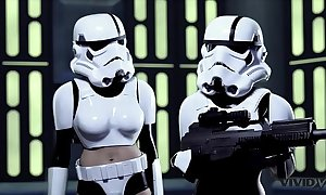 Unafraid girlie show - 2 storm troopers cognizant some wookie dick